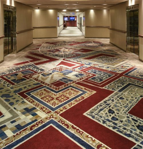 Custom carpet designed and manufactured by Ulster Carpets in the lift lobby on board Arcadia
