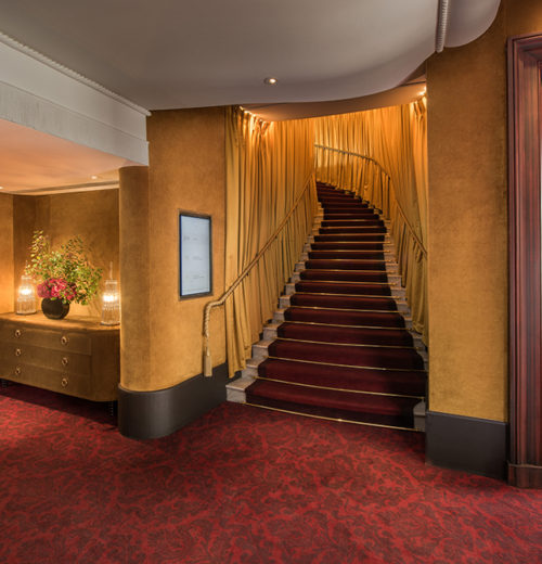 Custom axminster carpet in public areas at Hotel Barrière Le Fouquet's - photography © Marc Bérenguer
