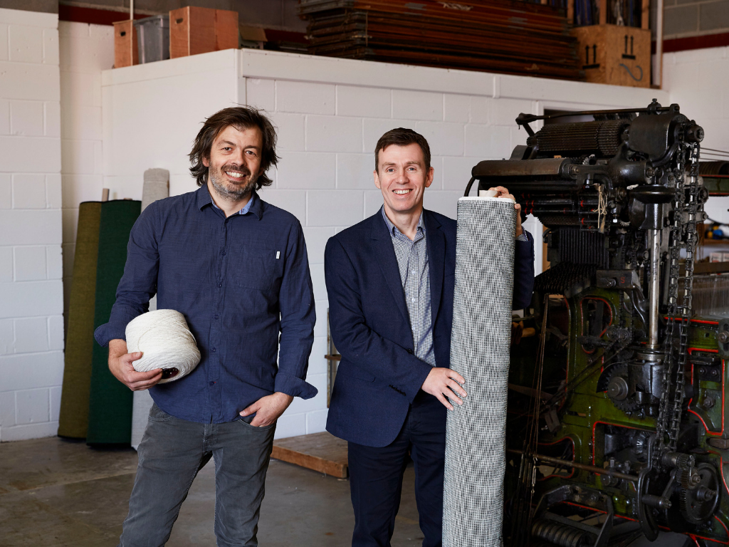 Mario Sierra, Creative Director, Mourne Textiles (left) and David Acheson, Head of Strategic Operations at Ulster Carpets, pictured in the new workshop of Mourne Weavers - a joint venture between the two companies.